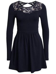 Onlniella New Ls Lace Dress Ess - Only - Mörk Blå - Klänningar - Kläder - Kvinna - Nelly.com