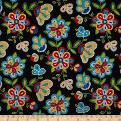 Tucson Beaded Floral Black Fabric By The Yard Elizabeth's...