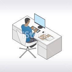 Man At Desktop Illustration Royalty Free Stock Vector Art Illustration
