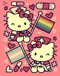 puzzlebot, nurse hello kitty said gay and trans rights warm. L Wallpaper, Wallpaper Animes, Cute Poster, Poster Wall, Poster Prints, Sanrio Hello Kitty, Hello Kitty Art, Hello Kitty Bedroom, Hello Kitty House