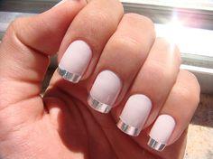 Pink nails with silver tips nails pink nail silver pretty nails nail art manicure nail ideas nail designs Metallic Nails, Matte Nails, Silver Nails, Metallic Pink, Acrylic Nails, Neutral Nails, Stiletto Nails, French Nails, French Manicures
