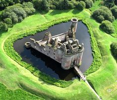 Caerlaverock Castle is a moated triangular castle, first built in the 13th century. It is located 11 kilometres (6.8 mi) south of Dumfries in south-west Scotland,