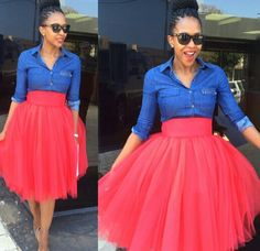 Red tulle skirt  with denim shirt