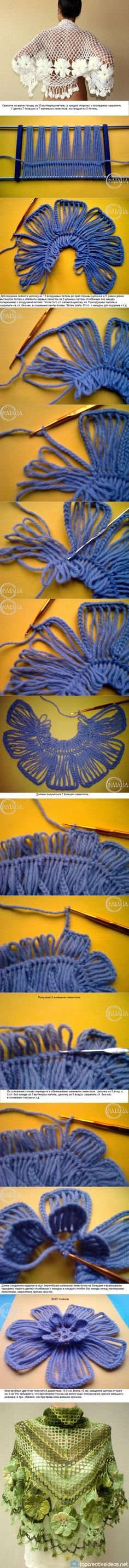 crochet flower tutorial=DIY Basic Flower with Crochet Fork and Hook Diy Crochet Flowers, Crochet Flower Tutorial, Crochet Diy, Crochet Motif, Crochet Shawl, Crochet Designs, Crochet Crafts, Crochet Stitches, Crochet Projects