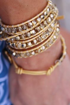MyStyleSpot: Willamy Collections Gold Leather Wrap Bracelet