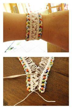 Crochet hairpin lace bracelet Read at : diyavdiy.blogspot.com