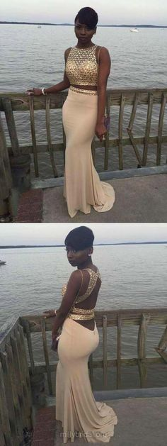 Two Piece Prom Dresses Long, 2018 Party Dresses Backless, Sheath/Column Scoop Neck Formal Evening Dresses Silk-like Satin Beading