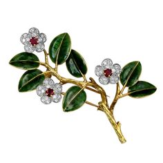 Ruby & Enamel Tree Branch Art Deco Brooch by Boucheron
