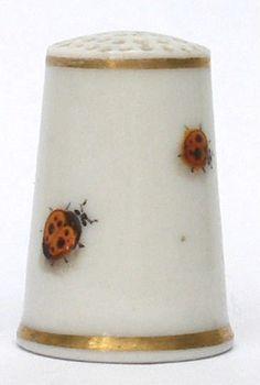 Very rare Royal Worcester two-spot ladybird. antique thimbles, porcelain thimbles. enamel thimbles
