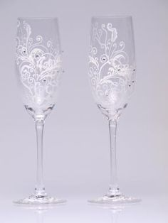 Hand Painted Wedding Toasting Flutes Set  - $49.00