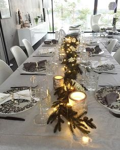 Black + White Christmas table setting