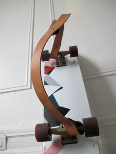 Leather longboard-carrying strap.