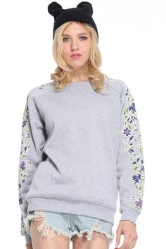 ROMWE   Floral Printed Sleeves Grey Pullover, The Latest Street Fashion