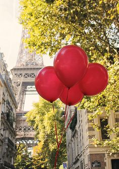 Red Balloons in Paris Eiffel Tower Paris by rebeccaplotnick