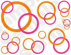 HOT PINK ORANGE circle bubble border abstract wall decals for teen girls room decor - 4 color choices #decampstudios
