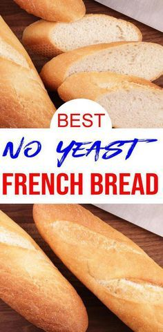 EASY homemade french bread with NO YEAST. Yes, you heard it yeastless bread recipe that is simple, quick and delicious. This is one of my families favorite bread recipes. Yeast Free Breads, No Yeast Bread, Yeast Bread Recipes, Quick Bread Recipes, No Yeast Baguette Recipe, Keto Bread, Bread Dough Recipe Bread Machine, No Bake Bread Recipe, Easiest Bread Recipe No Yeast