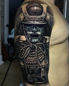 Tattoo artist Jacob Sheffield, color and black&grey portrait tattoo realism Japanese Warrior Tattoo, Japanese Tattoo Art, Japanese Tattoo Designs, Japanese Sleeve Tattoos, Best Sleeve Tattoos, Arm Tattoo, Body Art Tattoos, Cool Tattoos, Demon Tattoo