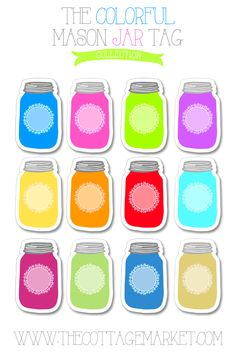 "Colorful Mason Jar Tag Collection FREE Printable - Can be used as gift tags idea for ""Gifts from the kitchen"" to friends and family. Mason Jar Tags, Mason Jar Crafts, Mason Jar Diy, Printable Labels, Free Printables, Freebies Printable, Labels Free, Puzzle Photo, Cliparts Free"