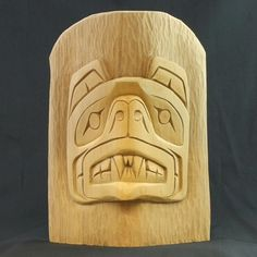 Grizzly Bear Miniature Totem by Tom Harry, Squamish Nation. Hand carved from yellow cedar. Arte Haida, Haida Art, Totem Pole Art, Totem Poles, Native Art, Native American Art, Bear Totem, Feather Painting, Indigenous Art