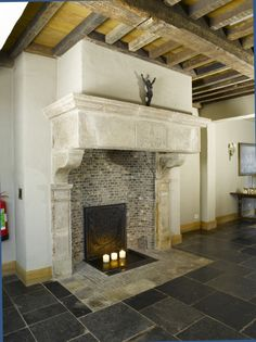 Belgisch blue stone Floor and castle style chimney