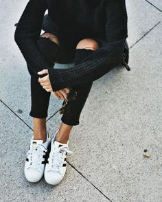 Distressed jeans + adidas