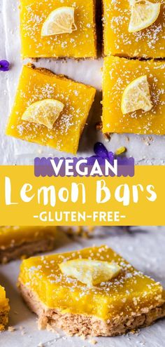 These bars are incredibly refreshing, light, lemony, not too sweet, healthier than the traditional lemon bars and so delicious! Best Vegan Desserts, Easy Gluten Free Desserts, Gluten Free Treats, Gluten Free Flour, Sweet Desserts, Vegan Gluten Free, Easy Desserts, Vegan Recipes, Dessert Recipes