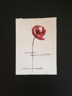 "Art Tattoo Original Sheet ink and watercolor "" Amapola """