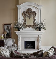 Formal Fireplace - traditional - living room - cleveland - Schill Architecture LLC