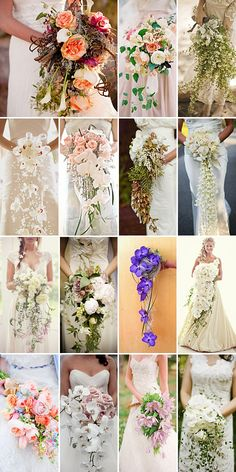 Cascading wedding bouquets. Pretty. :)