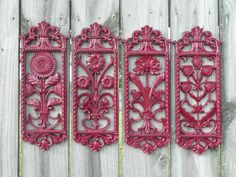 Upcycled Vintage Homco Floral Wall Decor in Dark Red by Erindee, $25.00
