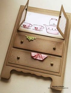 Cute House Warming Card. You could also turn this into a baby shower card by adding a onsie hanging out of the drawer and some pants. Then maybe a stuffed animal and the babies name or congrats in block letters.. or maybe even abc blocks. I need to use w/pic of largest chest of drawers!