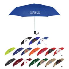 "42 Inch Arc Custom Budget Telescopic Umbrellas: Available Colors: Solid: Burgundy,Black,Red, Royal Blue,Lime Green,Navy, Orange,Forest Green, Khaki,Two-Tone: Blue/Black, Red/White,Red/Black, Navy/Khaki, Burgundy/White, Forest Green/Khaki, Black/White, Blue/White, Khaki/Black .    Imprint Area: 7"" W x 4"" H. Product Size: 16"" x 15"" x 12"". Box Weight: 29.00 lbs. Material: Polyester. Packaging: 50. #customumbrella #promotionalproduct #rainydays"