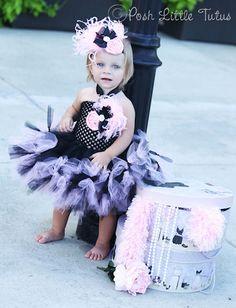 La Petite Belle Couture Tutu Dress in Black and Paris Pink - 3081