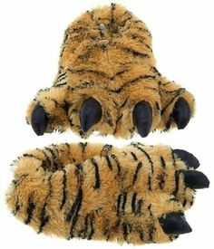 d9ca876b5f4e Details about Wishpets Medium Size Unisex 5-9.5 Brown Tiger Animal Paw  Plush Fuzzy Slippers