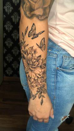 Half Sleeve Tattoos Forearm, Quarter Sleeve Tattoos, Forarm Tattoos, Bone Tattoos, Leg Tattoos, Body Art Tattoos, Rose Tattoo Thigh, Girl Arm Tattoos, Tattos