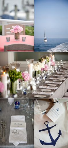 long table decor - interspersed hurricane candles