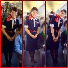 Beautiful JAL cabin attendants #flightattendant #flightattendants #stewardess #cabincrew
