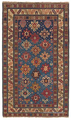 Antique Caucasian Rug in French Blue