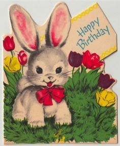 Vintage Greeting Card 1950s Cute Animal Bunny Rabbit Tulips L345