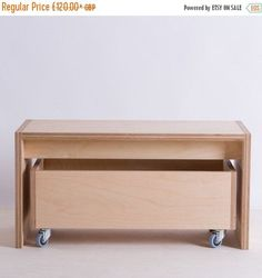 Bench and Storage Box on Wheels - Birch Plywood