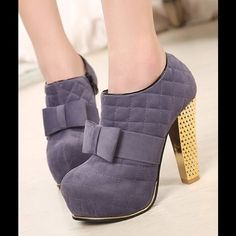 Quilted Style Rhombus Pattern Bowknot Ankle Boots The Gold heel sold me. Love these for church, the club, the office, and the bar. Perfect Spring transition shoe/ boot. Material: Surface: Suede / Outsole: Rubber / Platform: 3.5cm Size: 5.5 , 6, 6.5, 7, 7.5  Preorder (1-2wks) Heel: 11.5cm / Vegan Leather. Comes in 2 Colors Black & Gray. Shoes