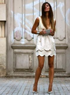 Off-white Scalloped Dress - Bqueen Bud Deep V-neck Embroidered Fashion Mode, Fashion Beauty, Party Fashion, Fashion Styles, Street Fashion, Trendy Fashion, Fashion Ideas, Fashion Dresses, Sexy White Dress