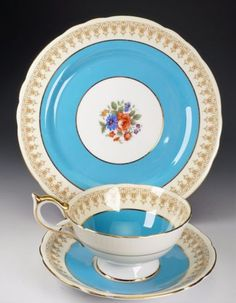 Antique Aynsley TRIO TEA CUP, SAUCER AND PLATE - Turquoise And Gold - RARE