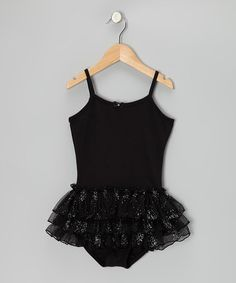 Take a look at this Black Glitter Skirted Leotard - Girls by Danshuz on #zulily today!