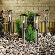 Porto Outdoor Post Lights in Stainless Steel - Pack of 4 Lights