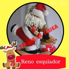 Amigas aquí les dejo los moldes del santa esquiador Reno, Christmas Stockings, Santa, Holiday Decor, Home Decor, Holiday Ornaments, Appliques, Wood, Christmas Mugs