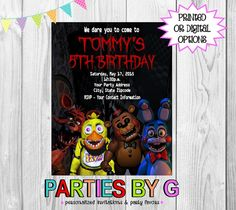 Five Nights at Freddy's Birthday Party Invitations by PartiesByG