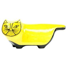 Baldelli Yellow Ceramic Modernist Cat Bank (£89) ❤ liked on Polyvore featuring home, home decor, decorative objects, yellow home accessories, cat home decor, ceramic home decor, yellow home decor and vintage home decor