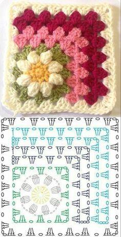 Copy and Create: Crochet Square Graphics ⋆ Front Facing .- Copie e crie: Gráficos de quadrados de crochê ⋆ De Frente Para O Mar – – Copy and create: Crochet square graphics ⋆ Facing the Sea – – - Crochet Diy, Crochet Amigurumi, Granny Square Crochet Pattern, Crochet Blocks, Crochet Diagram, Crochet Squares, Crochet Basics, Crochet Blanket Patterns, Crochet Motif