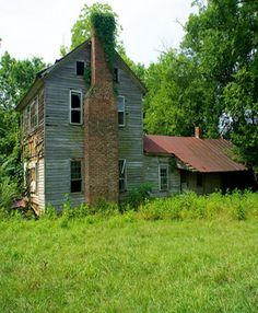 Two Story Old Farm House Stone Chimney